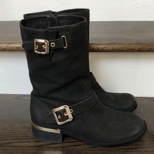 Vince Camuto Windy Moto Motorcycle Black Boots 10M